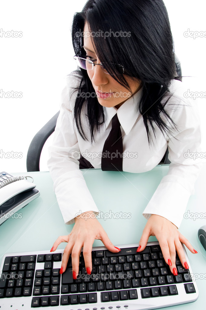 Accountant working on computer on an isolated white background — Stock Photo #1350992