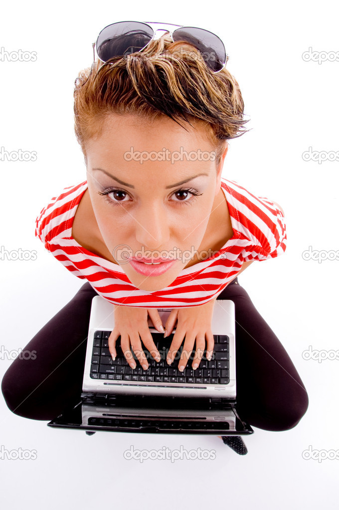 High angle view of female with laptop against white background — Stock Photo #1352504
