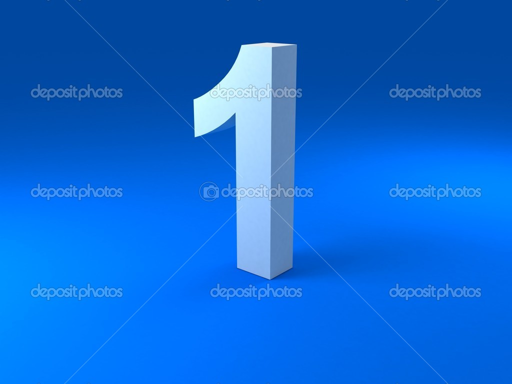 Front view of three dimensional digit — Stockfoto #1353277