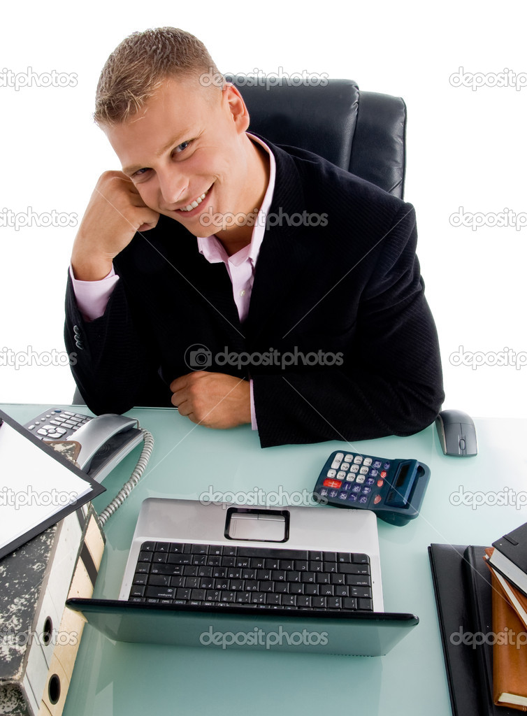High angle view of smiling businessman on an isolated white background — Stock Photo #1354386