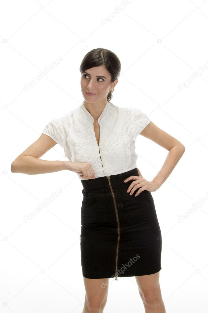 Young lady showing offering gesture against white background — Stock Photo #1355952