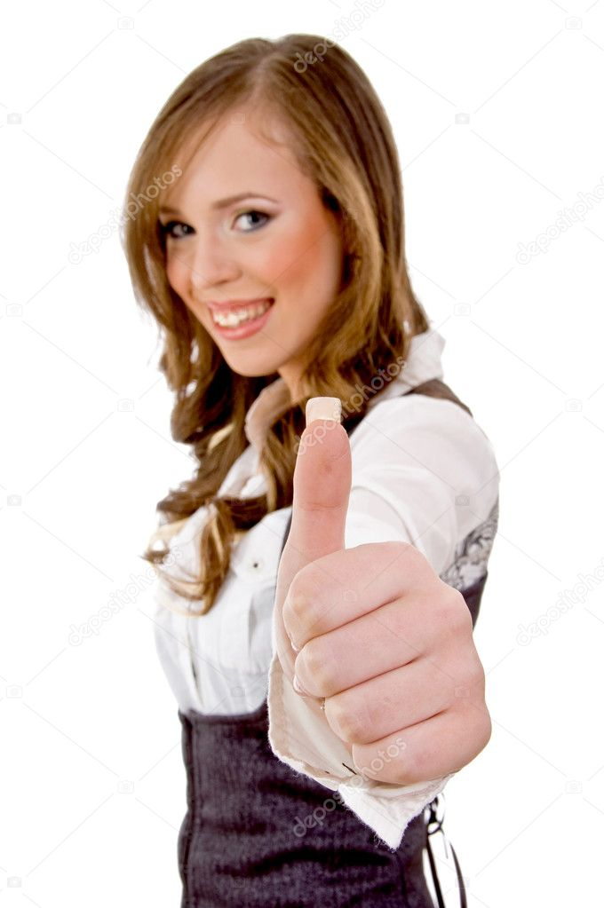 Side view of smiling woman with thumbs up on an isolated white background