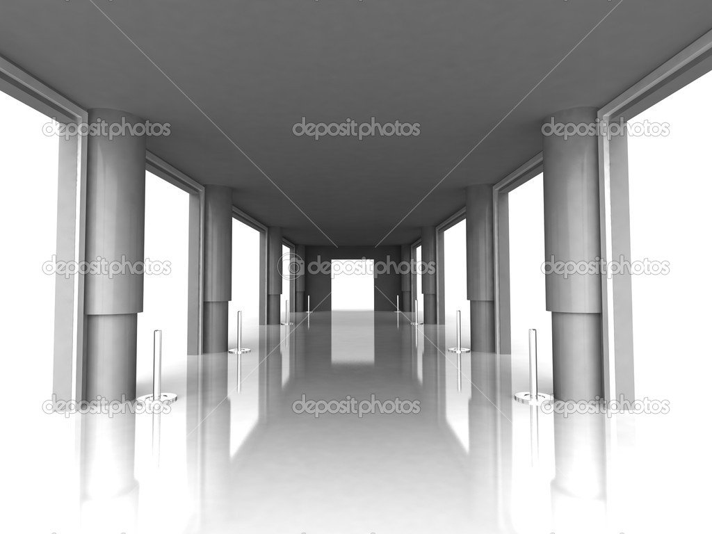Front view of hall with pillars — Stock Photo #1358274