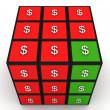 Dollar puzzle cube — Stock Photo