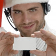 Santa man showing his visiting card — Stock Photo