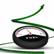 Stock Photo: Fuel meter with green arrow