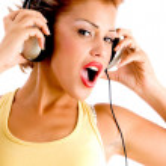 Charming model listening music — Stock Photo #1364270