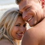 Romantic couple smiling — Stock Photo