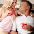 Couple enjoying coffee — Stock Photo