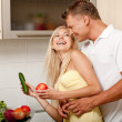 Love in the kitchen — Stock Photo
