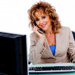 Corporate woman attending call — Stock Photo