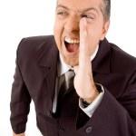 Aged businessman shouting — Stock Photo