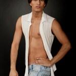 Male wearing sleeveless shirt — Stock Photo