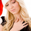 Christmas woman with closed eyes — Stock Photo