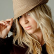 Portrait of model holding hat — Stock Photo