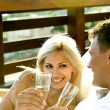 Couple having wine — Stock Photo