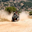 Quadbike action on a dirt track — Stock Photo
