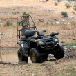 Stock Photo: Military four wheeler in desert