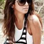 Pretty woman wearing goggles — Stock Photo