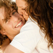 Lady hugging and kissing her man — Stock Photo