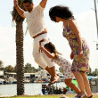 Family jumping together — Stock Photo