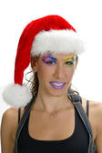 Portrait of female in christmas cap — Stock Photo