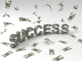 3d success text made of currency notes — Stock Photo
