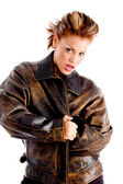 Woman wrapping herself in jacket — Stock Photo