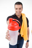 Man offering water bottle — Stock Photo