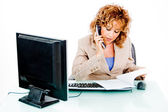 Woman busy on phone call — Stock Photo