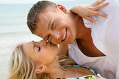 Lady kissing her man — Stock Photo