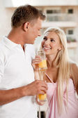 Woman flirting with her boyfriend — Stock Photo