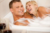 Affectionate couple bathing — Stock Photo