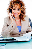 Corporate woman busy on call — Stock Photo