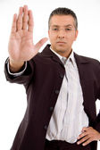 Man signaling stop — Stock Photo