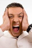 Homme d'affaires en colère criant — Photo