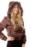 Smiling female wearing hood coat — Stock Photo