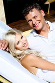 Affectionate couple smiling — Stock Photo