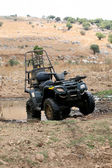 Military four wheeler in the desert — Stock Photo