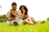 Happy family portrait having fun — Stock Photo