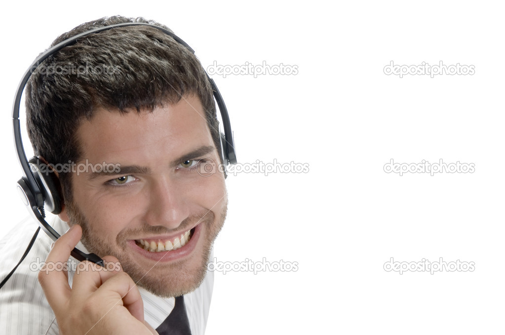 Caucasian man wearing headset with white background — Stock Photo #1361054