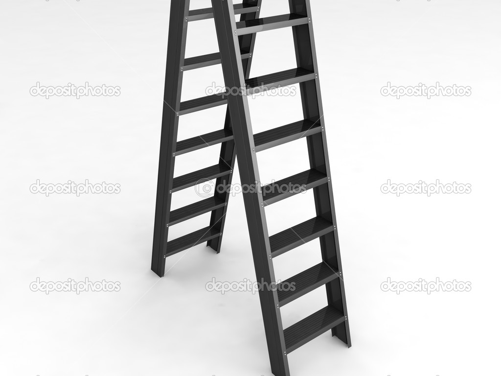Rendering ladders on an isolated white background — Stock Photo #1361240