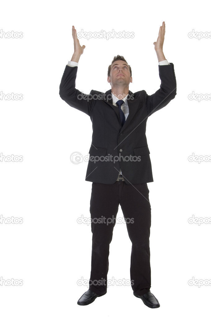 Man making wish with raised hands against white background — Stock Photo #1361847