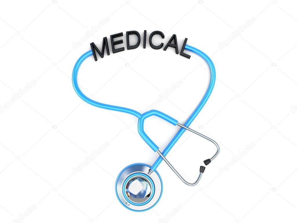 3d stethoscope and medical text on an isolated background — Stock Photo #1361938