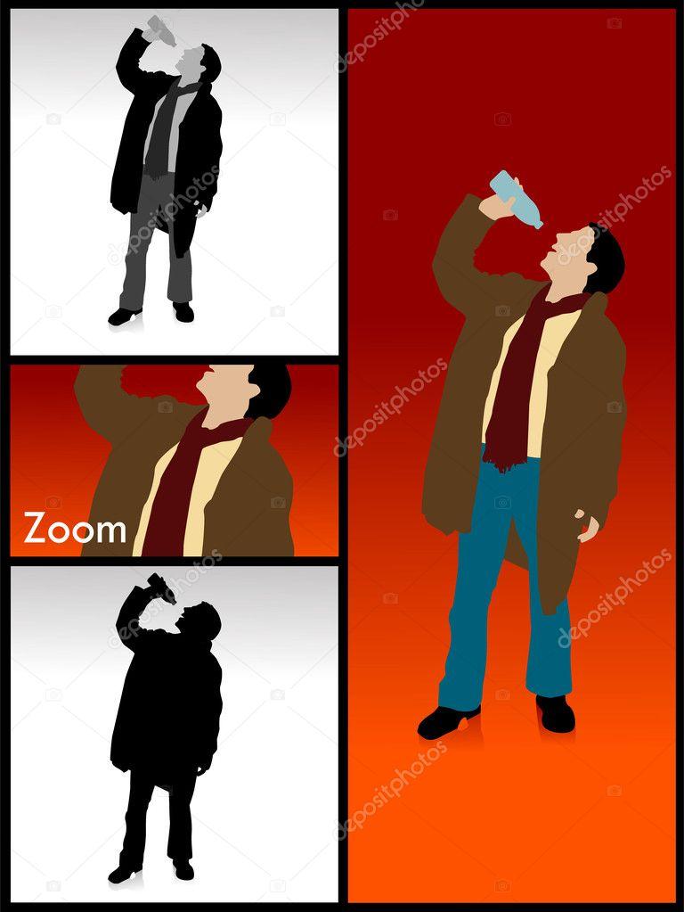 从瓶喝酒的男人