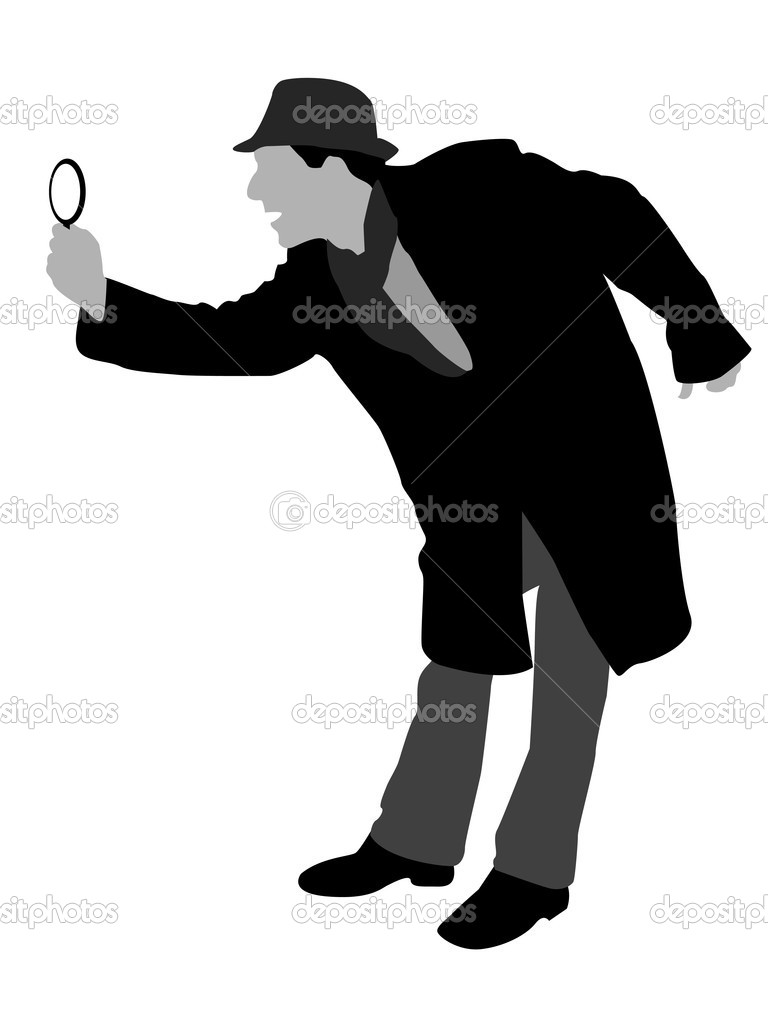Man looking through magnifier on isolated background — Stock Photo #1363691