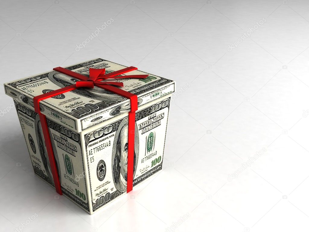 Three dimensional gift box wrapped with 100 dollar bills on an isolated white background  Stock Photo #1363778