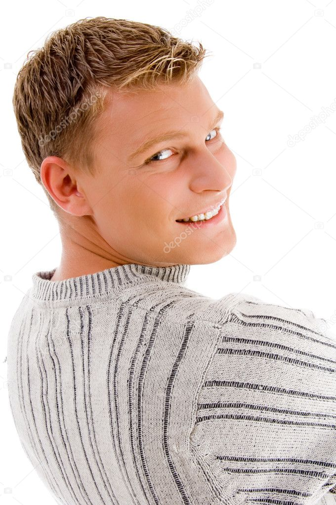 Smiling male looking backward against white background — Stock Photo #1364049