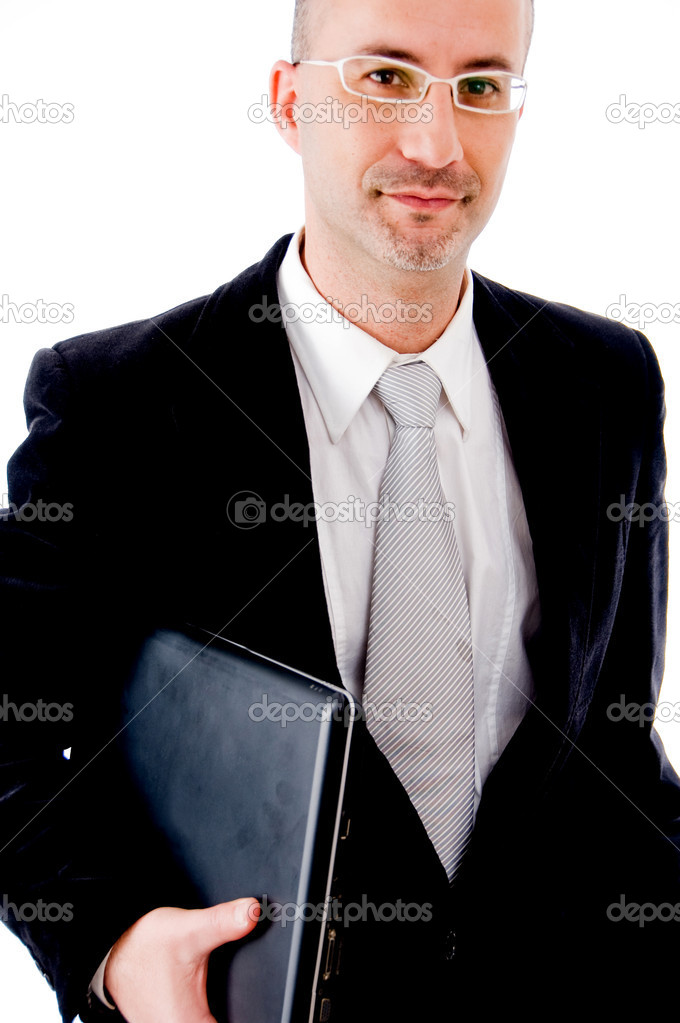Businessman holding his laptop and smiling — Stock Photo #1365270