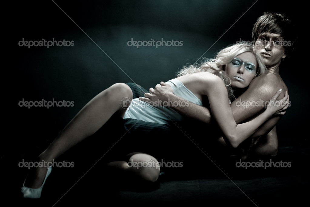 Woman taking peaceful sleep in arms of her boyfriend  Stock Photo #1367618